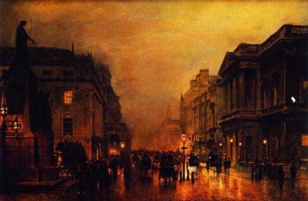 London Pall Mall and Saint James Street by John Atkinson Grimshaw c. 1880 1889 e1566341081754