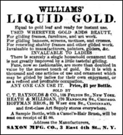 Gold Paint advert Harpers Bazaare 1881