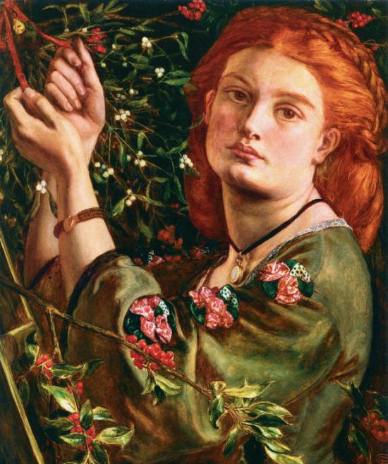 Hanging the Mistletoe by Dante Gabriel Rossetti 1860 e1574544405207