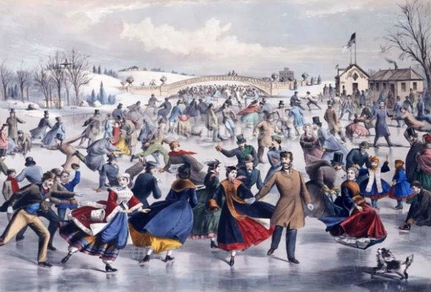 Central Park Winter The Skating Pond lithograph by Charles Parsons 1862