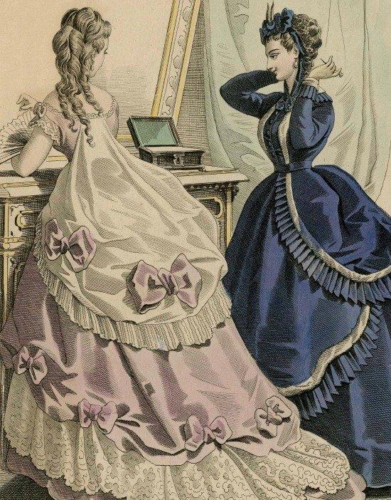 Il Bazar womens fashion plate 1869 via Met Museum cropped
