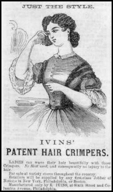 Ivins Patent Hair Crimper Godeys Ladys Book 1865.