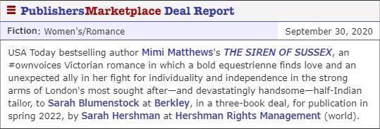 Mimi Matthews Publishers Marketplace Deal Report